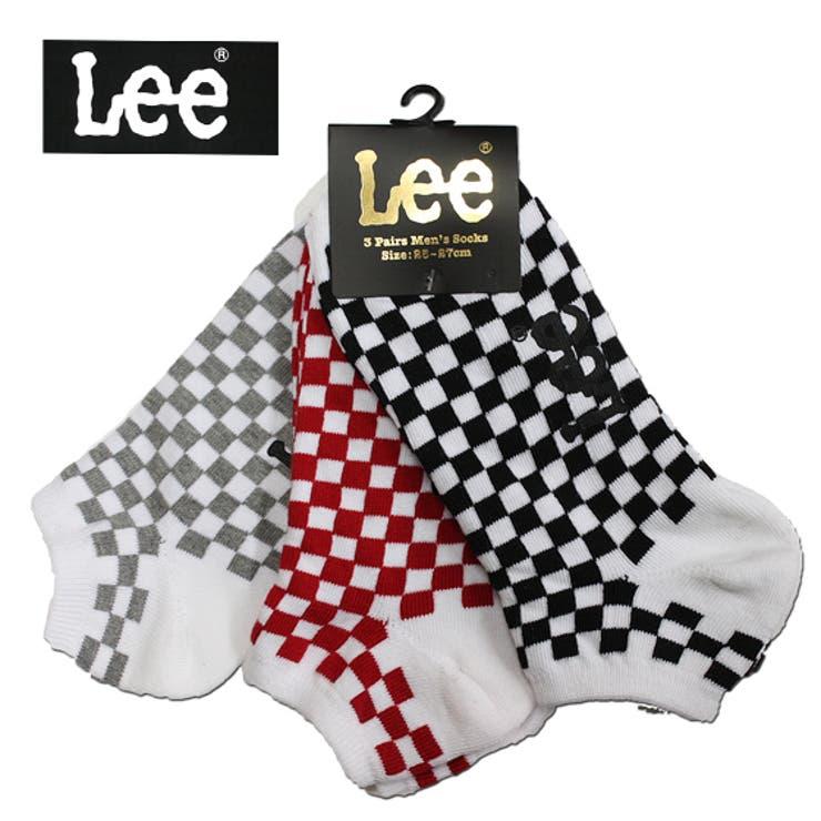 Lee メンズ3Pソックス ホワイトチェッカー size:25-27