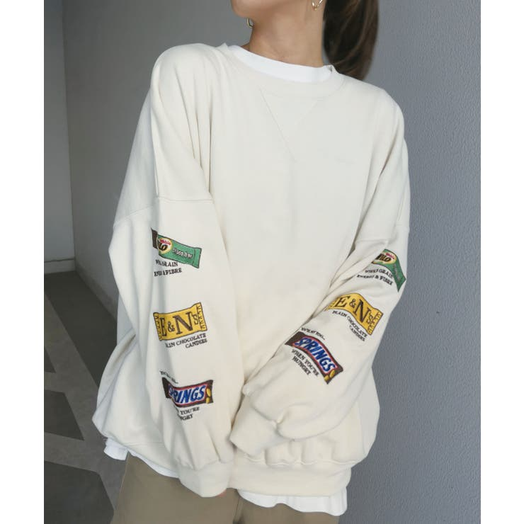 袖チョコレート刺繍オーバーサイズトレーナー | CORNERS  | 詳細画像1