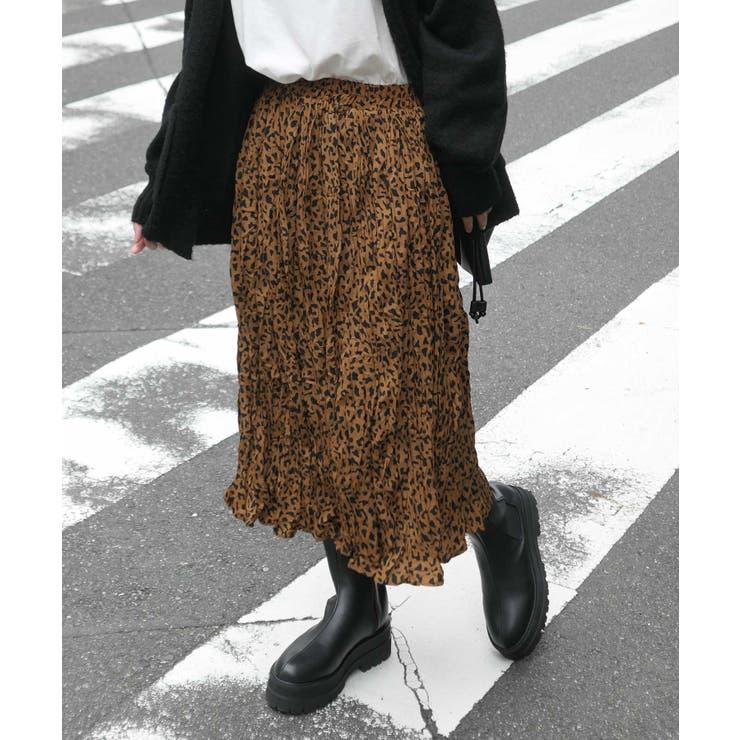 ヒョウ柄ランダムプリーツスカート | CORNERS  | 詳細画像1