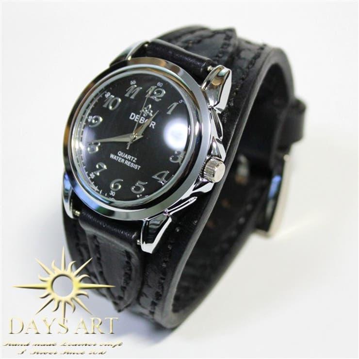 ■wc002-bk■時計 メンズ レディース 腕時計 レザーブレスレットウォッチ 硬質牛革ベルト カービングレザー ブラック