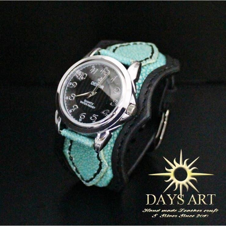 ■wc009-bk■時計 メンズ レディース 腕時計 レザーブレスレットウォッチ 牛革ベルト×スティングレー エメラルドフラット加工