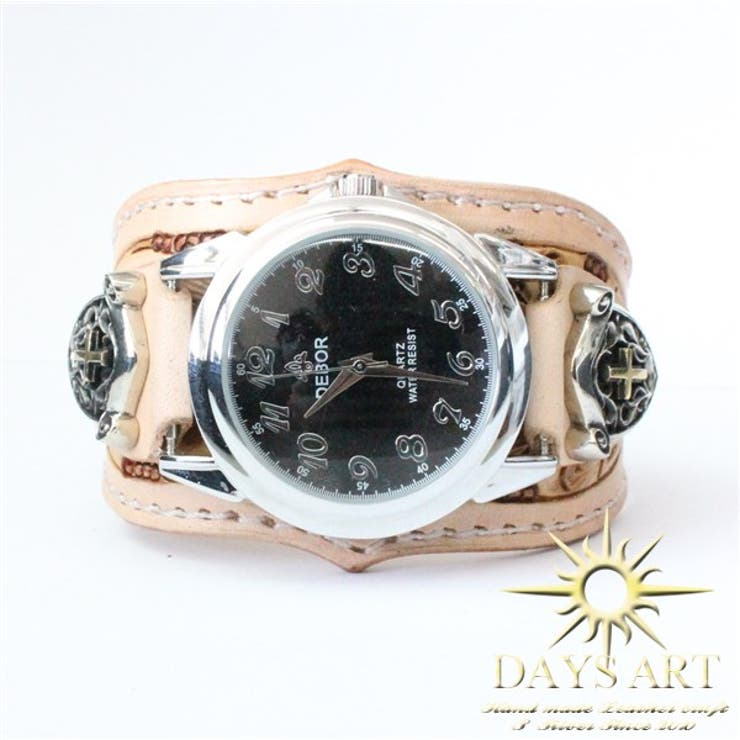 ■wc012-na■時計 メンズ レディース 腕時計 レザーブレスレットウォッチ 牛革ベルト カービング スカルクロスエンブレムコンチョ