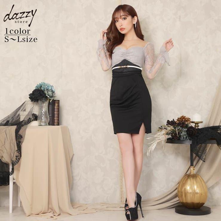 キャバ ドレス レース袖 | Dazzy | 詳細画像1