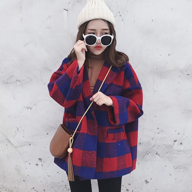 ★トレンドファッション♪チェック柄テーラードジャケットコート★2016秋冬新作