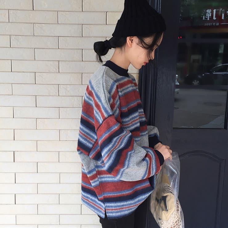 ★トレンドファッション♪不規則ボーダー柄トレーナー カットソー★2016秋冬新作