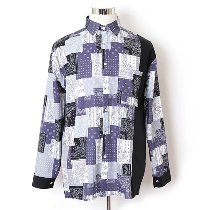 柄シャツ ペイズリーパッチワーク 長袖シャツ | Decorative  | 詳細画像1