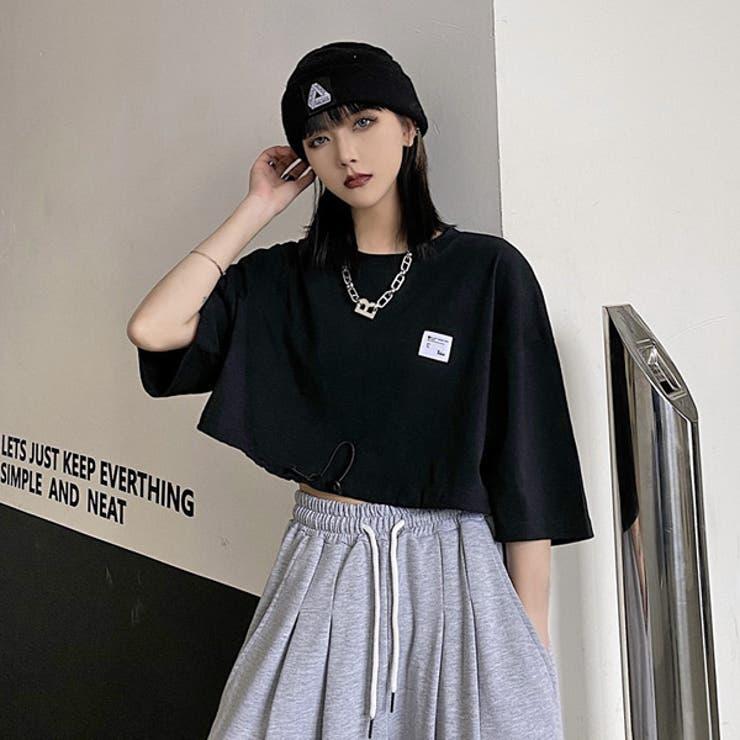 ワンポイントロゴTシャツ ショート丈 モノトーン配色 | Decorative  | 詳細画像1