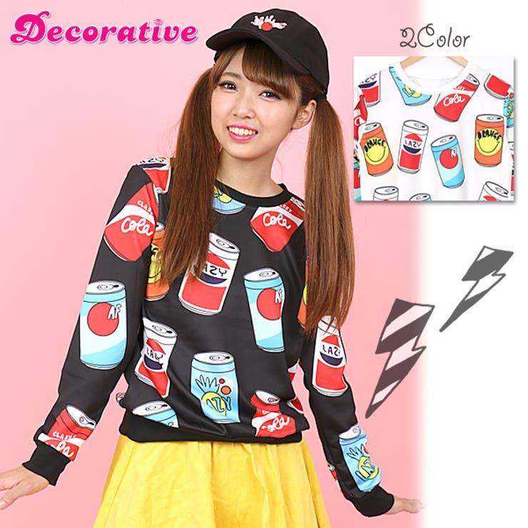 カラフルなドリンク缶のプリントがポップな長袖カットソートップス 原宿系 ファッション レディース ゆめかわいい 服 奇抜 派手 カワ個性的 ダンス 衣装 ヒップホップ 韓国 大きいサイズ
