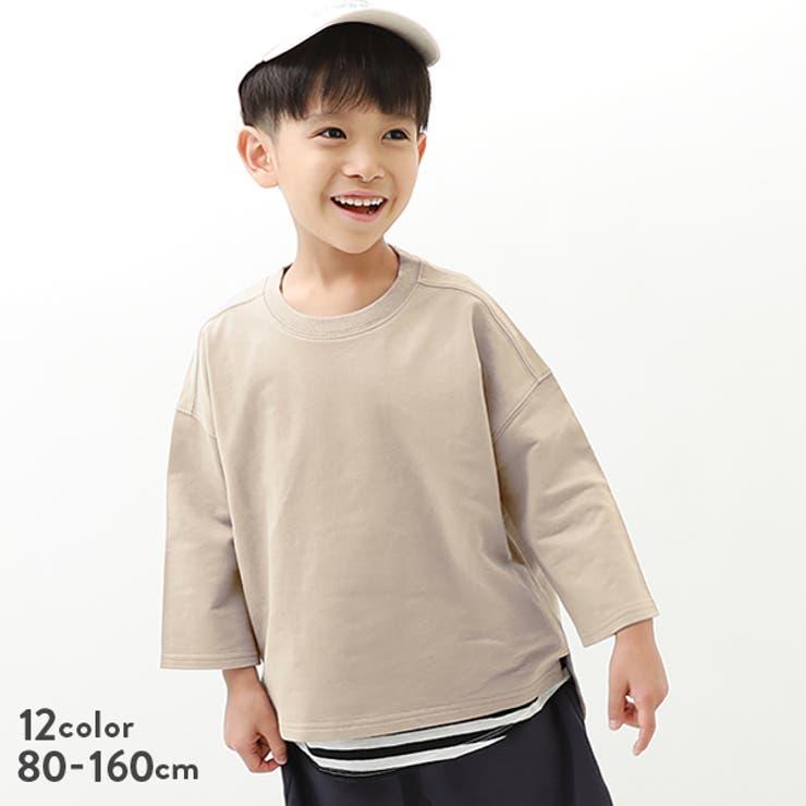 7分袖スウェットTシャツ 子供服 キッズ   devirock   詳細画像1