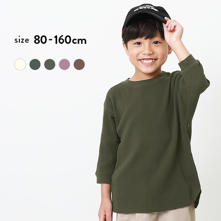 7分袖ワッフルTシャツ 子供服 キッズ   devirock   詳細画像1