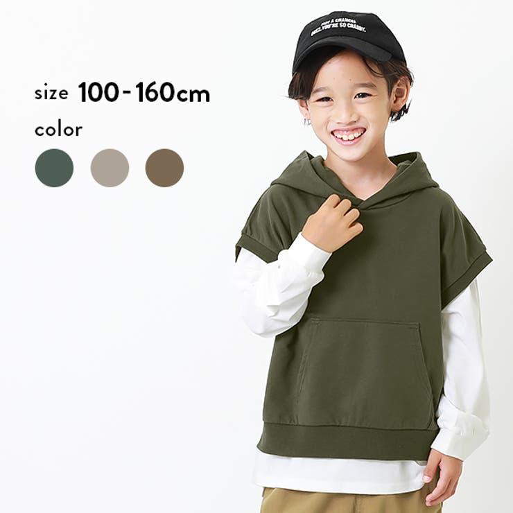 パーカーレイヤード風長袖Tシャツ 子供服 キッズ | devirock | 詳細画像1