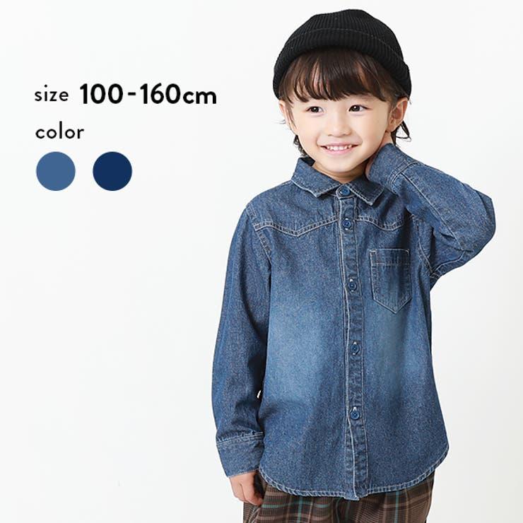 デニム長袖シャツ 子供服 キッズ 男の子 女の子 シャツ トップス   devirock   詳細画像1