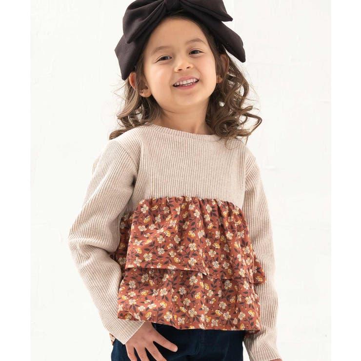 テレコリブ小花きりかえ長袖Tシャツ | DILash BABY & KIDS SHOP | 詳細画像1