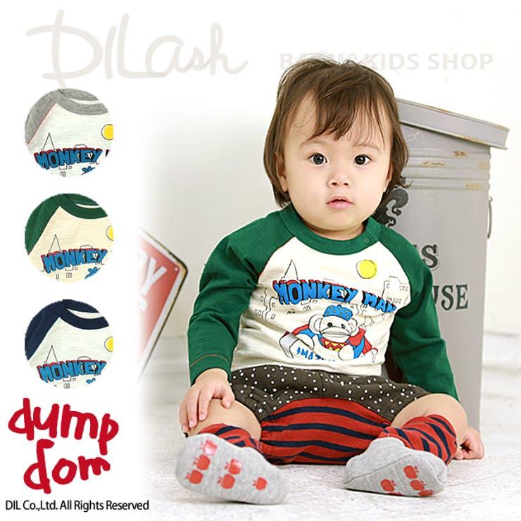 モンキーラグラン長袖Tシャツ★カタログ掲載商品★/dumpdom(ダンプドム)秋 ベビー 赤ちゃん 男の子