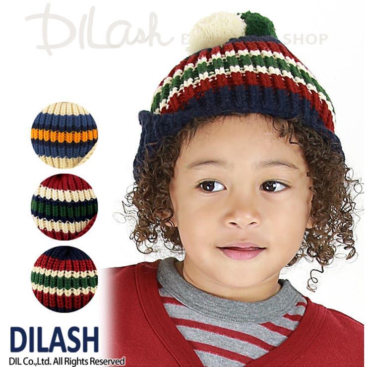 耳あて付きボーダーニット帽★カタログ掲載商品★/DILASH(ディラッシュ)秋/ニット