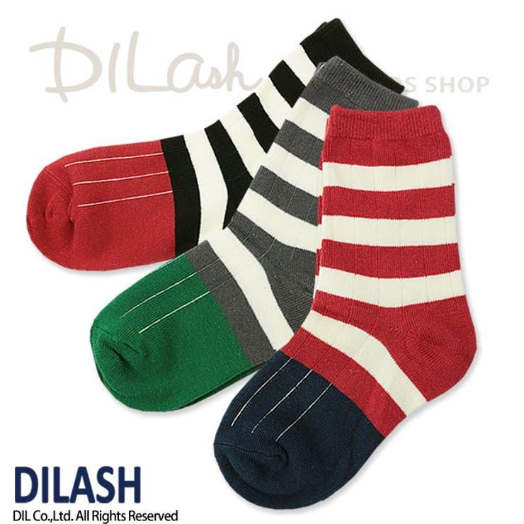 クルーソックス(ボーダー柄)/DILASH(ディラッシュ)秋/靴下