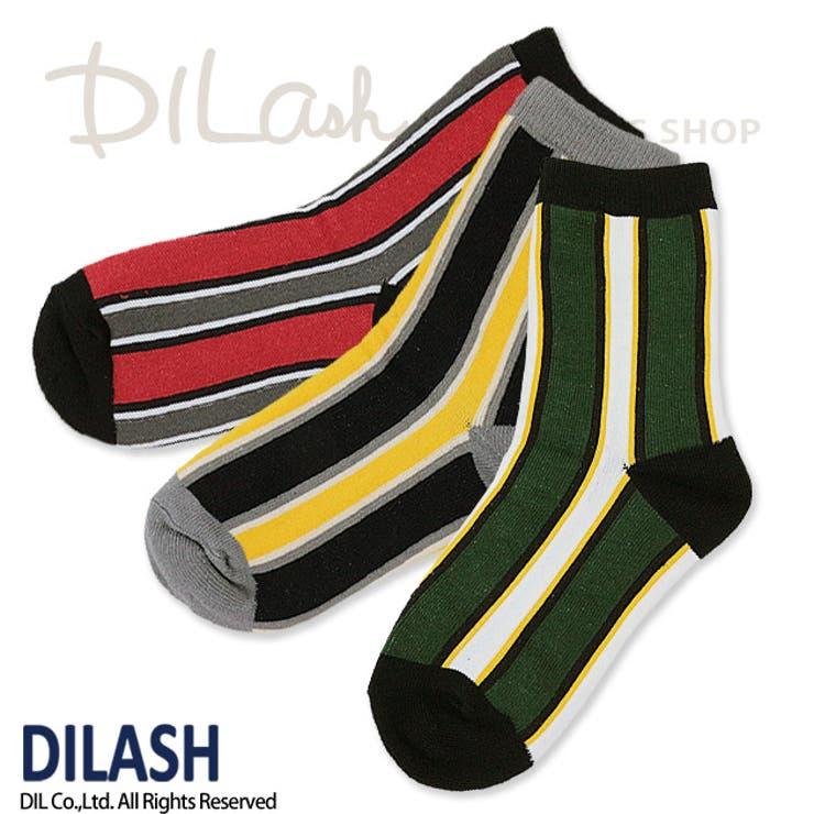 クルーソックス(ストライプ)/DILASH(ディラッシュ)秋/靴下