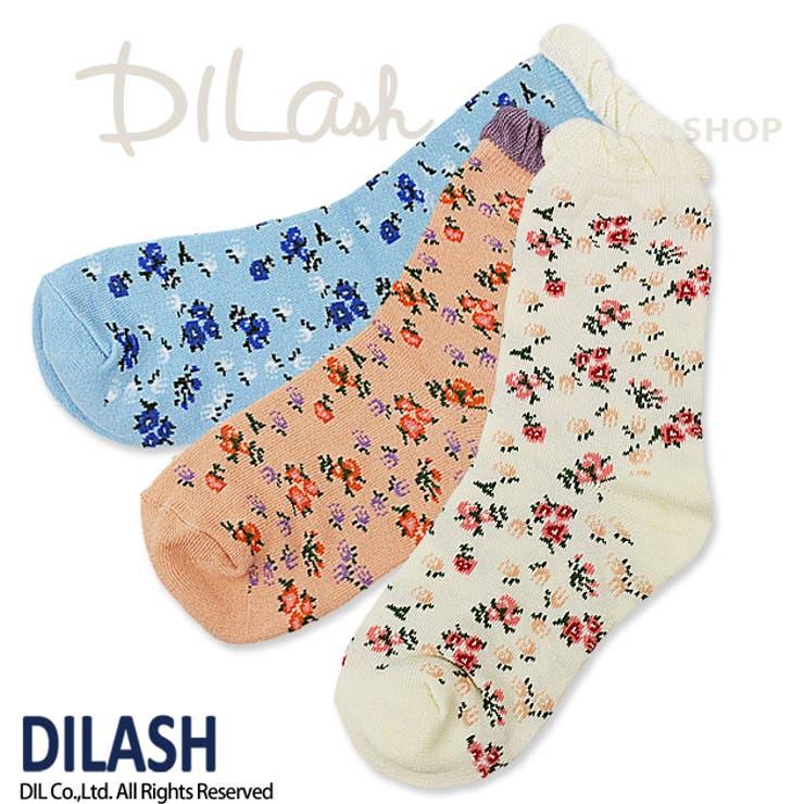 クルーソックス(小花)/DILASH(ディラッシュ)秋/靴下