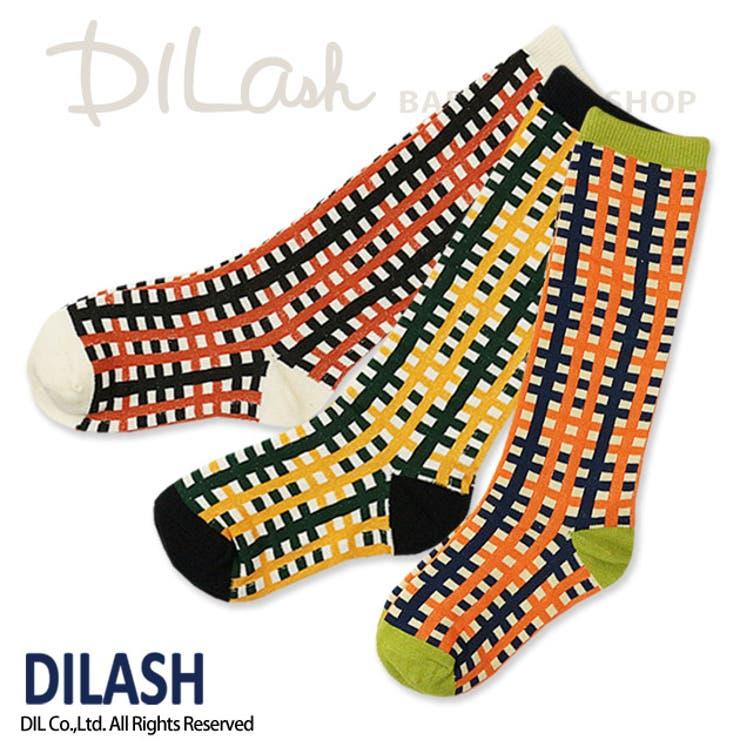 ハイソックス(チェック)/DILASH(ディラッシュ)秋/靴下