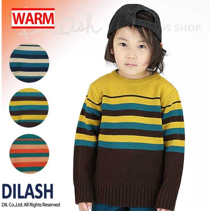 ボーダー横編みニット/DILASH(ディラッシュ)冬 ニット セーター
