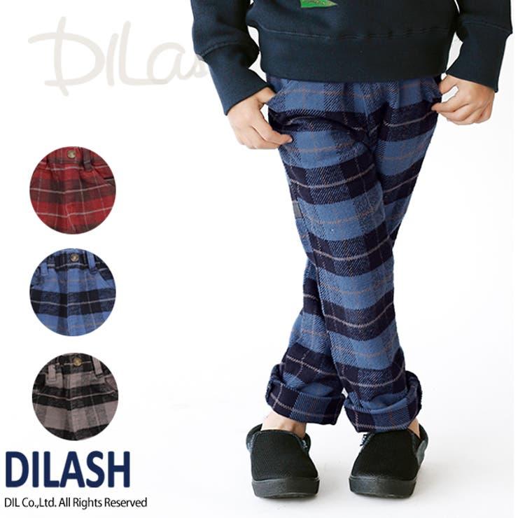 フラノ風チェック柄ストレッチストレートパンツ/DILASH(ディラッシュ)冬 パンツ ストレッチ