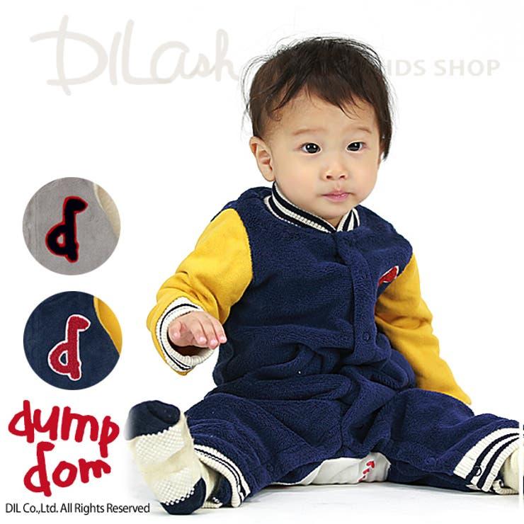 スタジアムジャケット風長袖カバーオール/dumpdom(ダンプドム)冬 ベビー 赤ちゃん 男の子 裏起毛