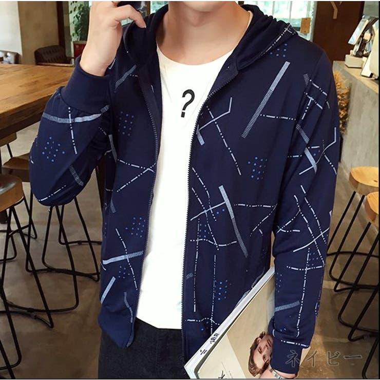 パーカー メンズ トップス ジップアップ ジャケット 羽織 総柄 きれいめ カジュアル 大きいサイズ メンズファッション パーカアウター