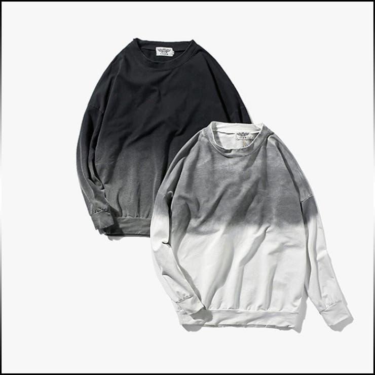 Tシャツ メンズ トップス シャツ ロンT 長袖 グラデーション シンプル ダメージ加工 ドロップショルダー カジュアルメンズファッション