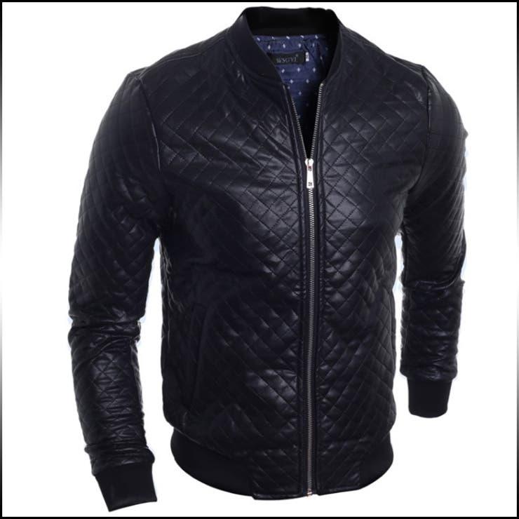 ジャンパー ブルゾン メンズ アウター PUレザー ジャケット ジップアップ キルティング風 カジュアル メンズファッション