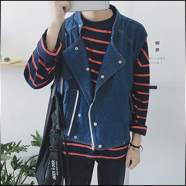 ベスト メンズ トップス デニム ジャケット Gジャン ノースリーブ カジュアル ボタン メンズファッション