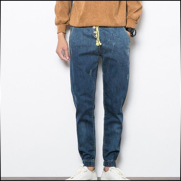 デニム メンズ ボトムス デニムパンツ イージーパンツ 紐 ゴム Gパン ジーンズ ロング丈 スリム カジュアル メンズファッションジーパン パンツ シンプル