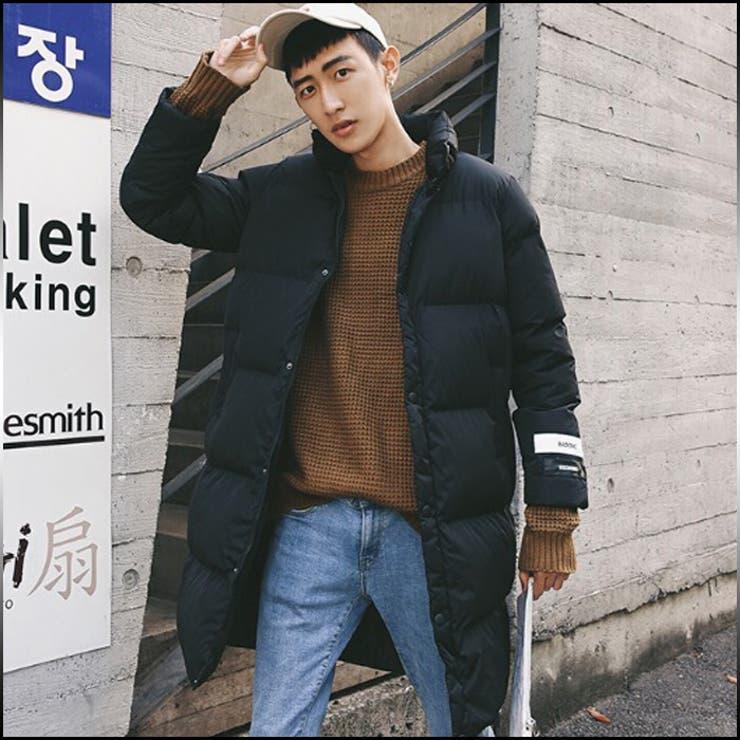 ジャンパー ブルゾン メンズ アウター ジップアップ ボタン 中綿 ロング丈 ロゴ 防寒 カジュアル メンズファッション 白 黒