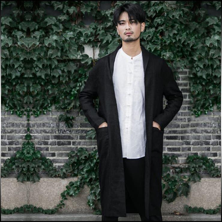 ロングコート メンズ アウター 羽織 無地 ノーカラー ボタンなし シンプルカラー きれいめ カジュアル ファッション コート 黒メンズファッション