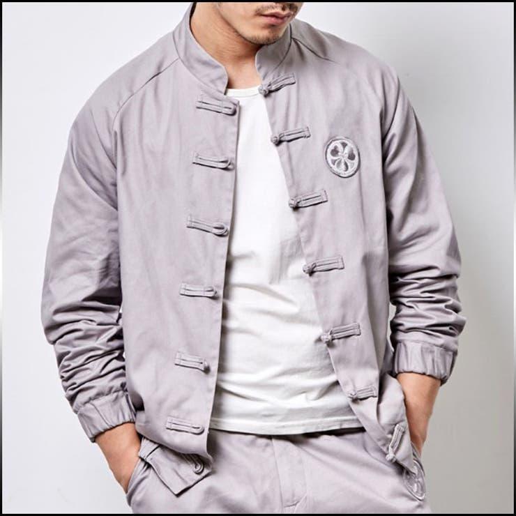 ジャンパー ブルゾン メンズ アウター 袖ゴム ループボタン 刺繍 ワンポイント カジュアル メンズファッション