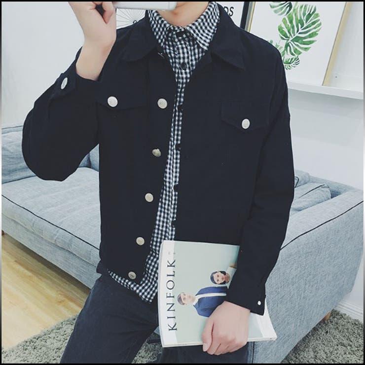 シャツジャケット メンズ アウター ブルゾン 背面プリント ボタン カジュアル コーデ メンズファッション ジャンパー コート 紳士服