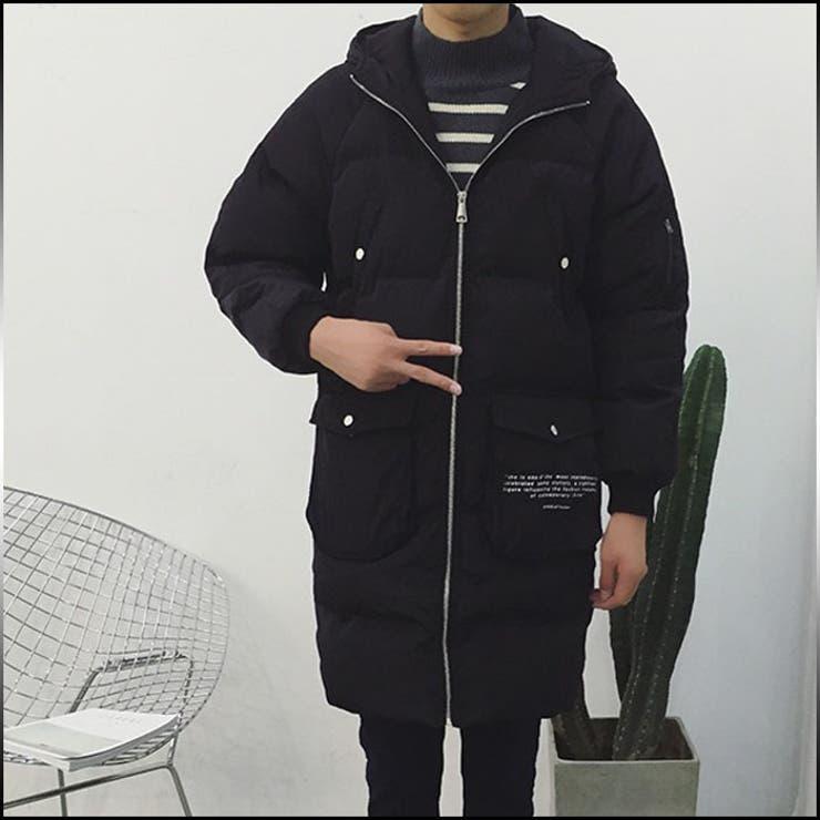 ハーフコート メンズ アウター 無地 フード付 プリント ロゴ 中綿入り キルティング風 シンプル カジュアル メンズファッションコート