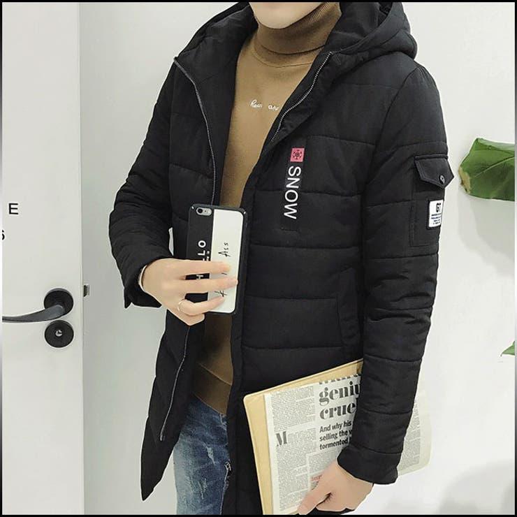 コート メンズ アウター 中綿入りコート ハーフ丈 ブルゾン ジップアップ フード付き ジップデザイン ロゴ カジュアル スポーティーメンズファッション キルティング