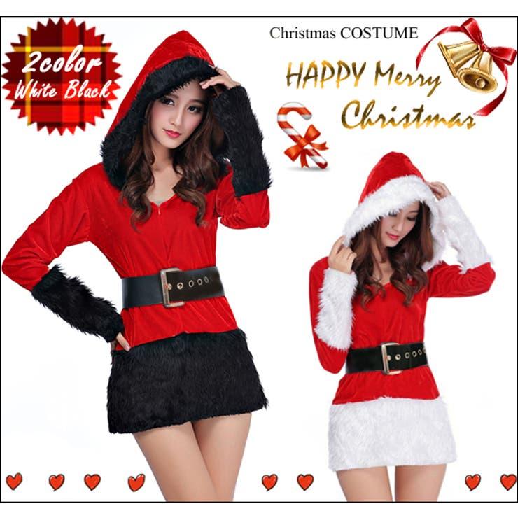 長袖フード サンタクロース コスチューム コスプレ ハロウィン クリスマス Xmas仮装 サンタ レディース