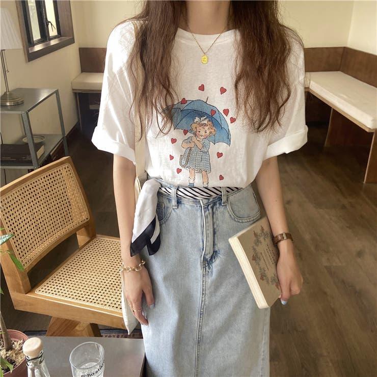 【Doula Doula】イラストプリントTシャツ【2021春夏商品】   Doula Doula   詳細画像1
