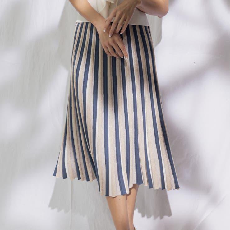 ミックスカラーストライプフレアニットスカート | AMBIENT | 詳細画像1