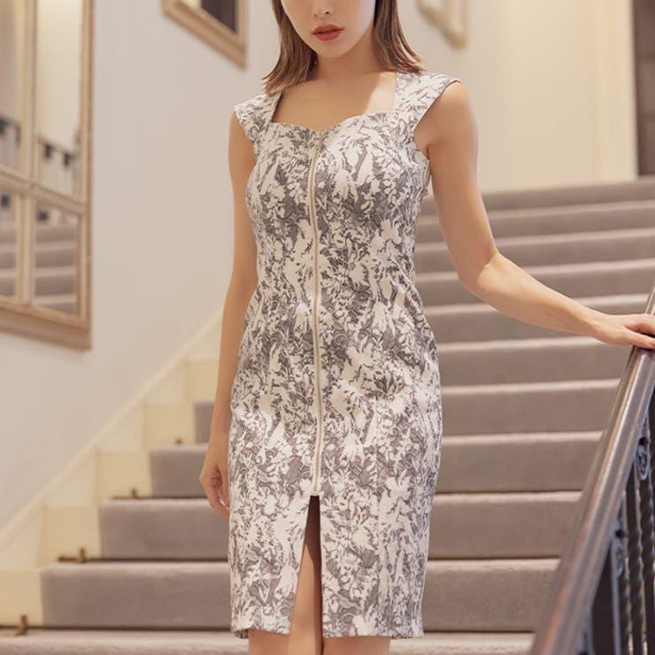 2トーンフロントジップジャガードタイトドレス   AMBIENT   詳細画像1