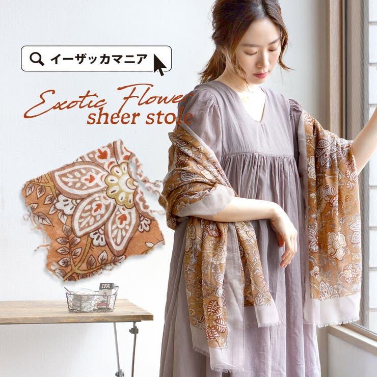エキゾチックフラワー シアーストール   e-zakkamania stores   詳細画像1