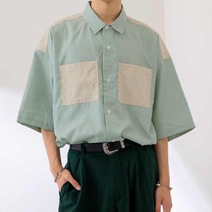 【Adoon plain】切り替えストライプシャツ | kutir | 詳細画像1