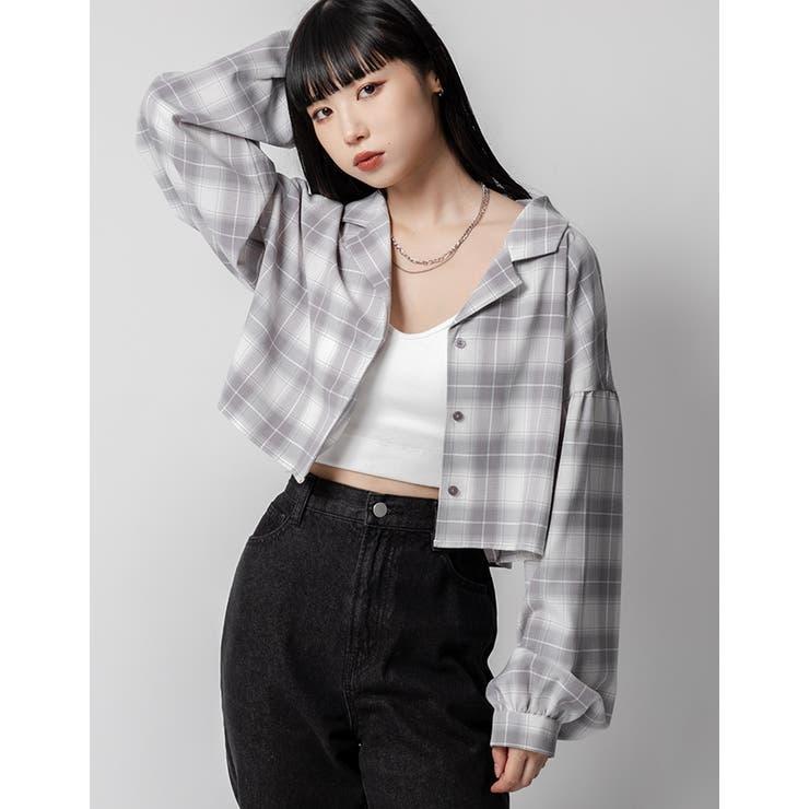 開襟ショート丈チェックシャツ   kutir   詳細画像1