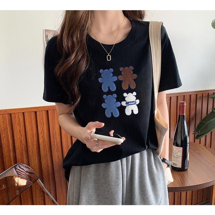 くまプリントTシャツ   Girly Doll   詳細画像1