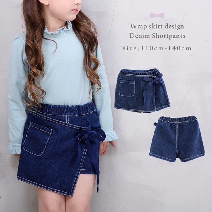 ラップスカート風デニムショートパンツ #ブルー ガールズ・キッズアパレル ボトムス 女の子 洋服 短パン kids girlsショートパンツ ゴムウエスト カジュアル Gパン ジーンズ巻きスカート リボン[品番:ENCK0000632]|enchante petit (アンシャンテプティ)のキッズファッション通販|SHOPLIST(ショップリスト) - 웹