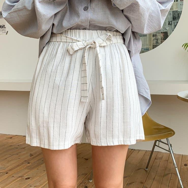リネン混ストライプ柄フロントリボンショートパンツ 韓国ファッション カジュアル   ENVYLOOK   詳細画像1