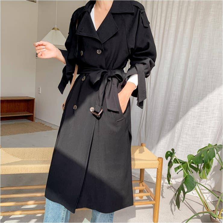 リボンダブルトレンチコート 韓国ファッション カジュアル | ENVYLOOK | 詳細画像1
