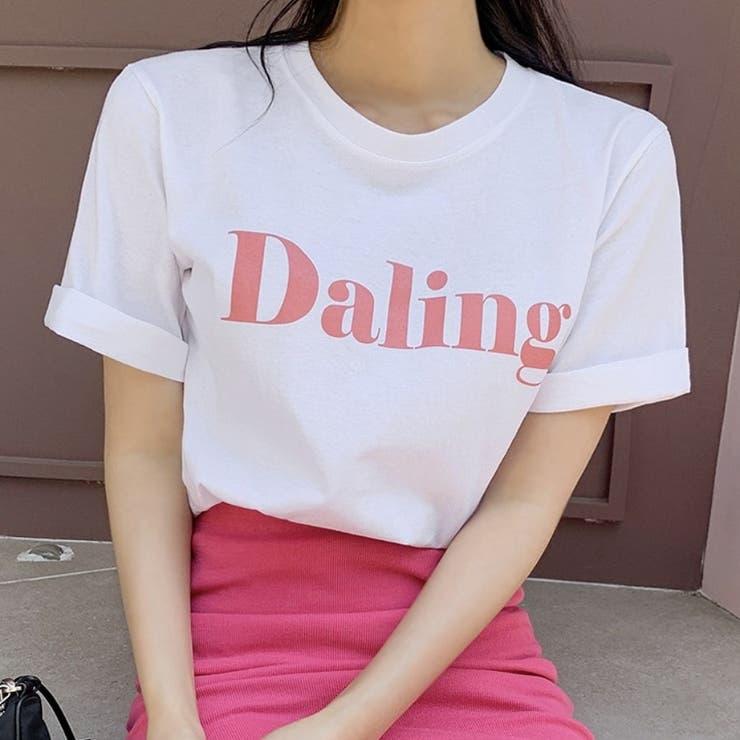 バストビッグロゴラウンド半袖Tシャツ 韓国ファッション カジュアル | ENVYLOOK | 詳細画像1