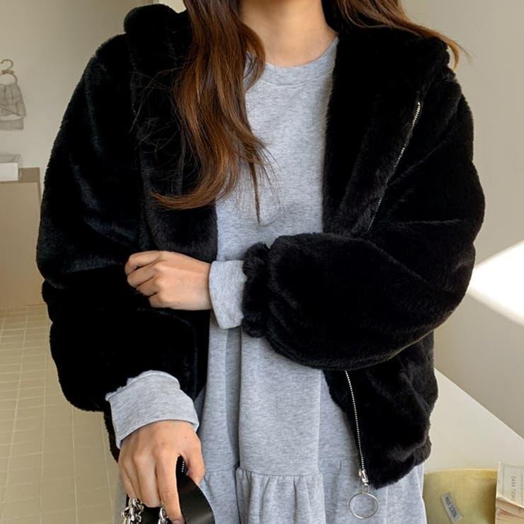 Oリングジッパーフェイクファーフードブルゾン 韓国ファッション カジュアル | ENVYLOOK | 詳細画像1